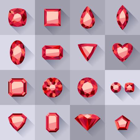 Set van vlakke stijl rode juwelen. Kleurrijke edelstenen. Robijnen geïsoleerd op grijze achtergrond.