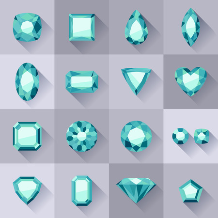 asscher cut: Set of flat style green jewels. Colorful gemstones. Emeralds isolated on gray background.