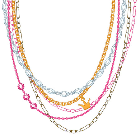 gold chain: Hand drawn colorful necklace with chains and gemstones. Sketch style. Illustration