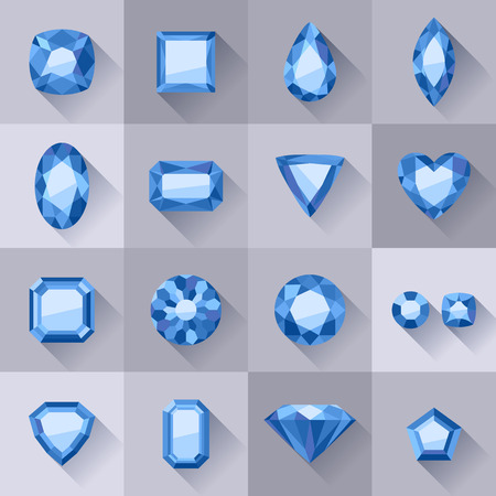 asscher cut: Set of flat style blue jewels. Colorful gemstones. Sapphires isolated on gray background.