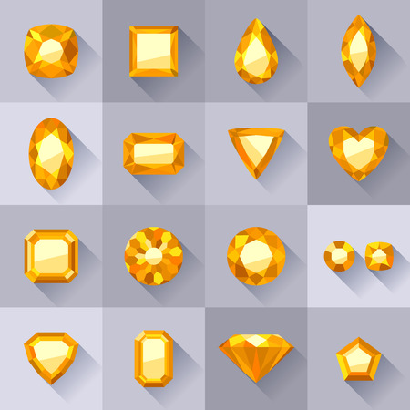 Set of flat style yellow jewels. Colorful gemstones. Beryls isolated on gray background.