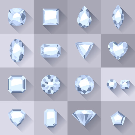 Set of flat style white jewels. Colorful gemstones. Diamonds isolated on gray background. Vector