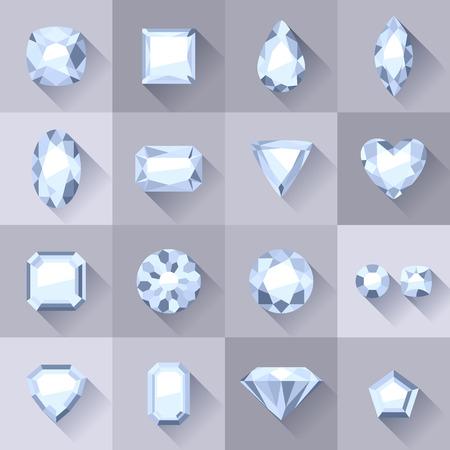 Set of flat style white jewels. Colorful gemstones. Diamonds isolated on gray background.
