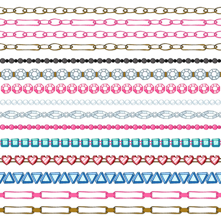 chain links: Set of hand drawn seamless borders - chains and gemstones. Cartoon style.