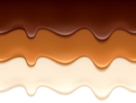Melted chocolate, caramel and yogurt drips - seamless horizontal borders set. Stock Illustratie