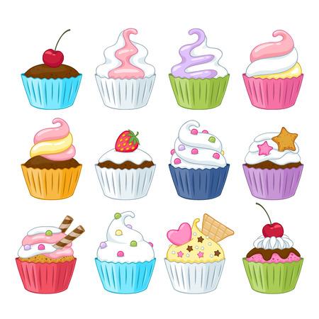 estrella caricatura: Conjunto de pastelitos dulces coloridos con decoraciones - bayas, asperja, obleas, caramelos. Vectores
