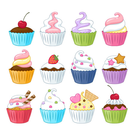 hand drawn cartoon: Set of colorful sweet cupcakes with decorations - berries, sprinkles, wafer, candies.