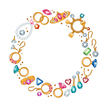 Jewelry items round frame background. Rings, earrings, pearl beads and gemstones. Good for greeting card design. Vectores