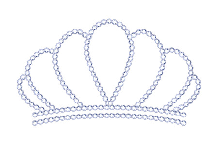 costume jewelry: Symple style silver tiara with diamonds. Royalty symbol. Illustration
