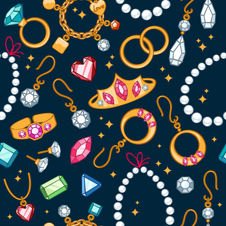 jewelry: Jewelry items seamless dark background. Pattern with rings, earrings, pearl beads and gemstones.