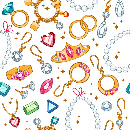 Jewelry items seamless light background. Pattern with rings, earrings, pearl beads and gemstones.