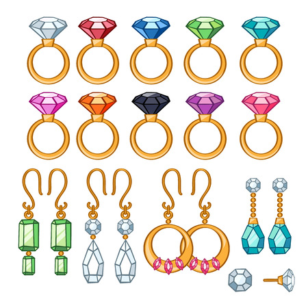 earrings: Set of assorted rings and earrings. Colorful gemstones. Cartoon style. Illustration