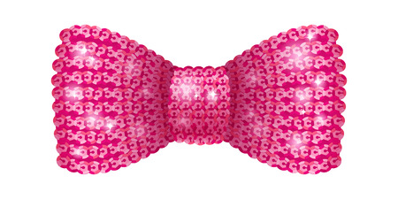 Pink sequins bow tie. Glamourous glitter formal wear. Decoration element.