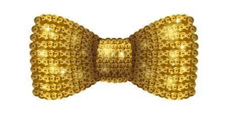 formal wear: Golden sequins bow tie. Glamourous glitter formal wear. Decoration element. Illustration