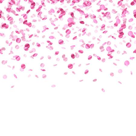 pink decorations: Pink confetti background. Seamless horizontal pattern. Metallic foil. Illustration