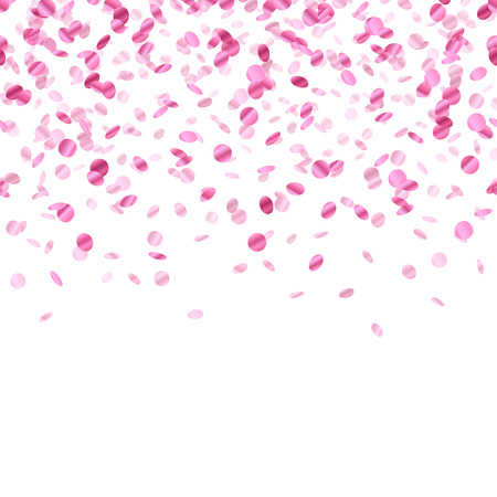 Pink confetti background. Seamless horizontal pattern. Metallic foil. Illustration