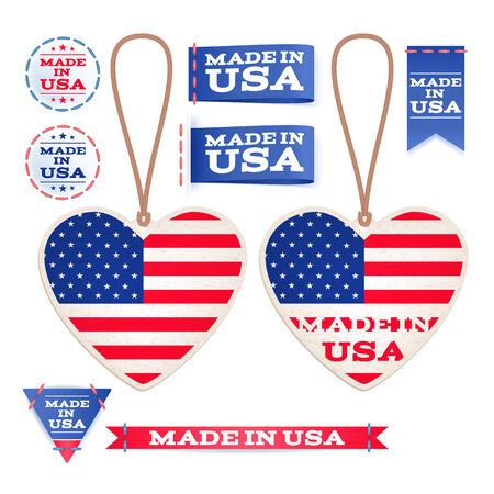sew tags: Made in USA hang tags and emblems. Stars and dtripes. Sew in tags.