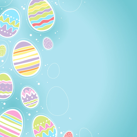 easter card: Decorative Easter eggs background - blue color. Good for postcard design.