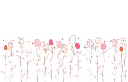 simple border: Border of easter eggs growing on stalks. Simple Easter design. Illustration