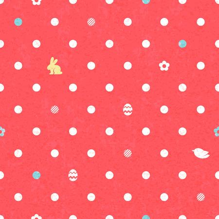 Easter polka dot seamless vintage pattern in red color. Vector