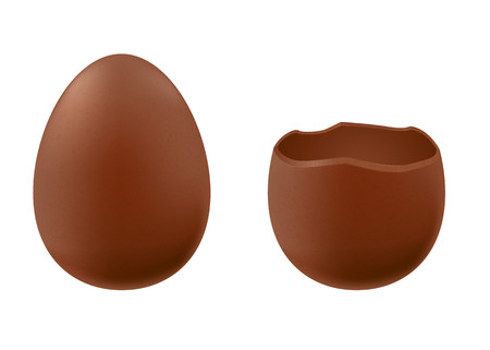 cracked egg: Set of chocolate eggs - whole and broken one. Good for Easter design. Illustration