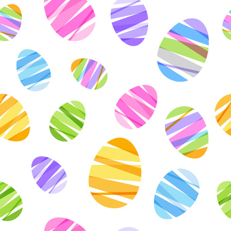 Seamless ribbon-wrapped Easter eggs pattern. Decorative texture. Good for Easter design.