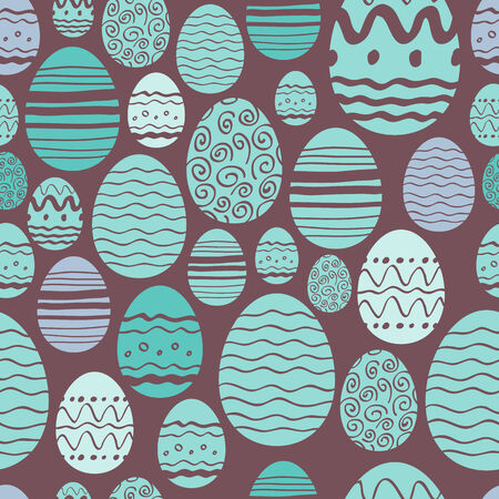 easter eggs: Seamless random easter eggs pattern in mint and brown color.