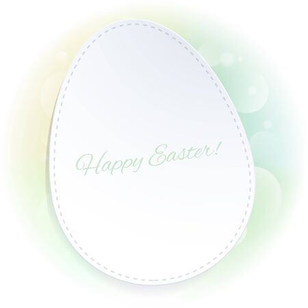 postcard back: Simple green Easter background with egg on a pale blurry back. Good for postcard design.