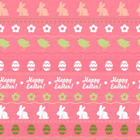 Seamless easter horizontal pattern with rabbits, flowers, eggs and chickens - pink color. Vector