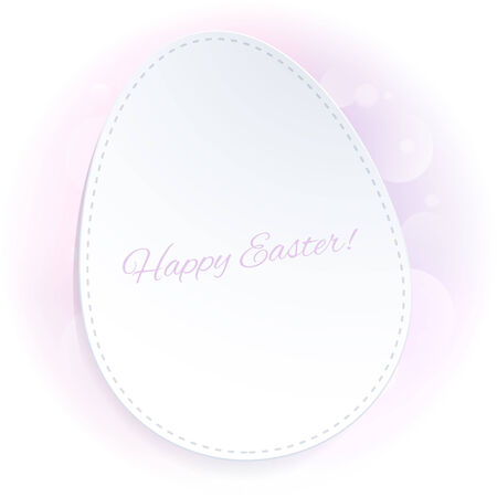 Simple pink Easter background with egg on a pale blurry back.