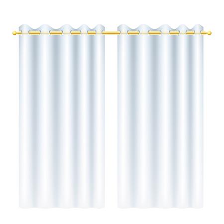 Cortinas blancas con transparencia. Blindés en barra de las cortinas de oro.