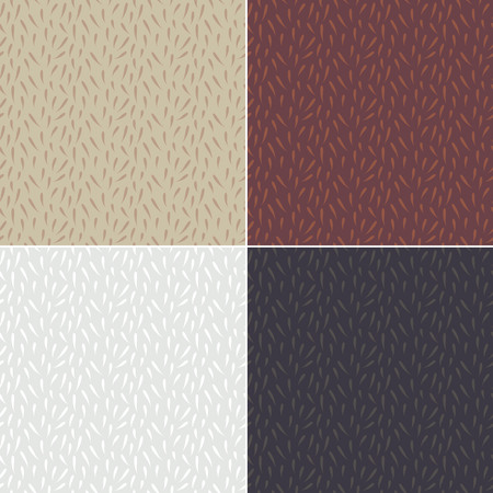 animal hair: Set of simple style fur backgrounds. Seamless fluffy patterns. Animal hair vintage texture. Illustration