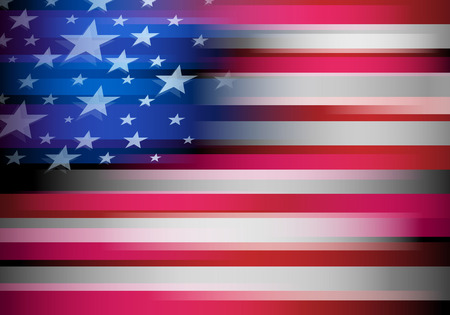4 star: American flag in motion blur style. USA, United States background. Stars and stripes. Illustration