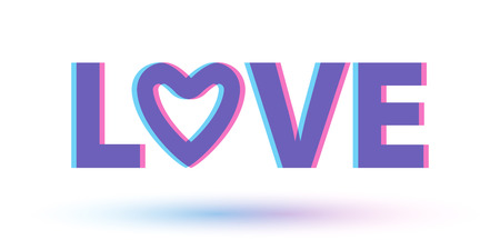 stereoscopic: Love word stereoscopic 3D effect illustration. Good for Valentines day design. Pink and blue. Heart letter.