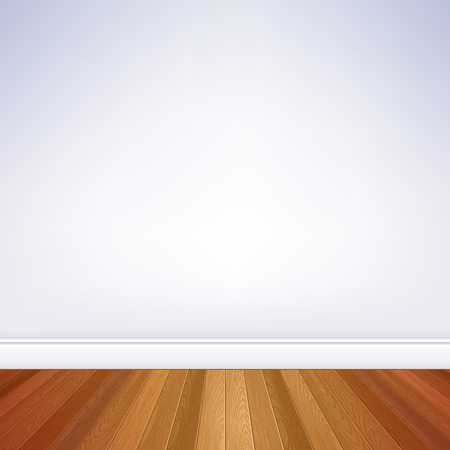 Realistic empty room white wall and wooden floor with plinth template. House interior.