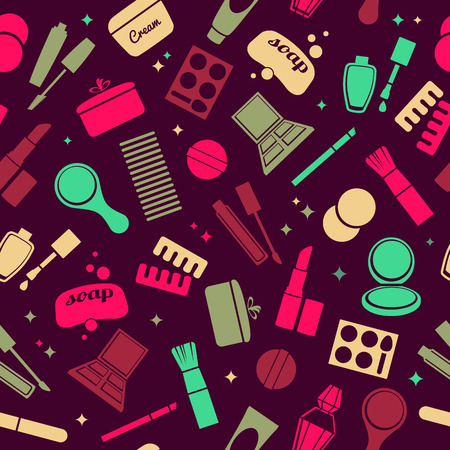 toiletry: Cosmetics and toiletry icons seamless pattern. Beauty background. Bright colors.