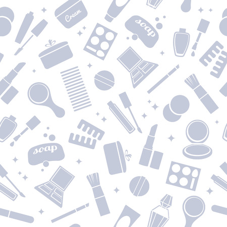 toiletry: Cosmetics and toiletry icons seamless pattern. Beauty background. White and gray.