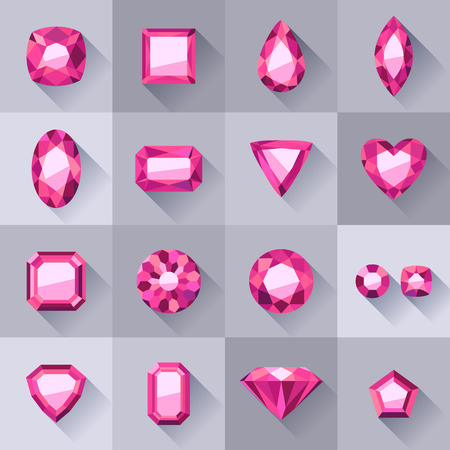 asscher cut: Set of flat style pink jewels. Colorful gemstones isolated on gray background. Illustration