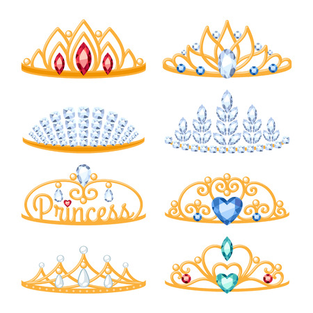 Set of beautyful golden tiaras with gemstones. Cartoon style. Jewelry collection. Vectores
