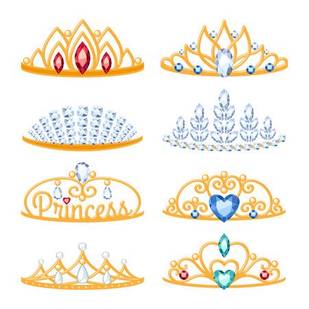 beautyful: Set of beautyful golden tiaras with gemstones. Cartoon style. Jewelry collection. Illustration