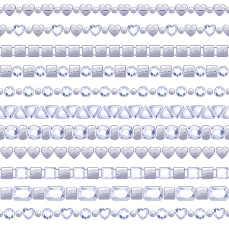 Set of jewelry silver chains with diamonds. Brushes collection. Vector