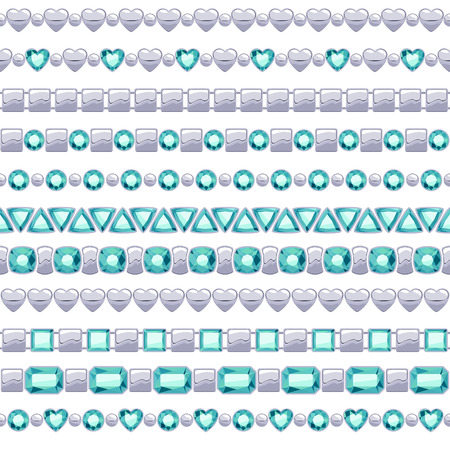 Set of jewelry silver chains with emeralds. Brushes collection. Vector