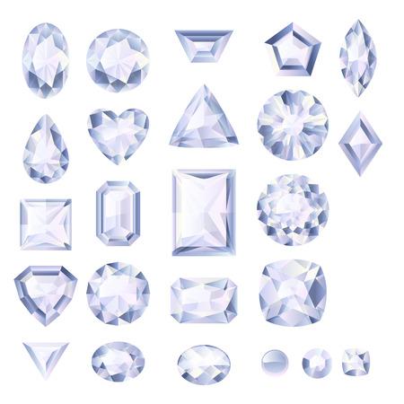 coeur en diamant: Ensemble de bijoux blancs réalistes. Pierres précieuses colorées. Diamonds isolé sur fond blanc. Illustration