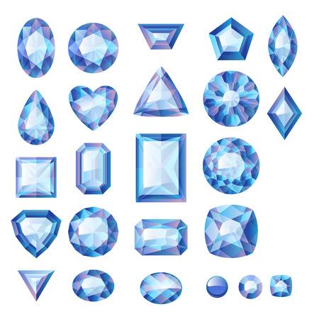 diamante: Conjunto de joyas azules realistas. Las piedras preciosas de colores. Zafiros aislados sobre fondo blanco. Vectores