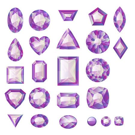 gemstone jewelry: Set of realistic purple jSet of realistic purple jewels. Colorful gemstones. Amethysts isolated on white background.ewels. Colorful gemstones. Amethysts isolated on white background.