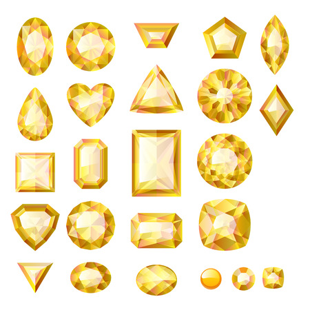 Set of realistic yellow jewels. Colorful gemstones. Beryls isolated on white background. Vector