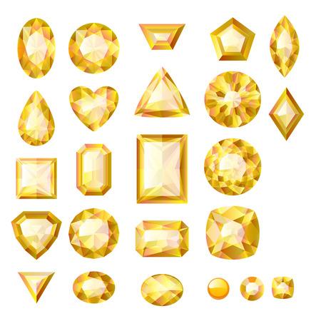 Set van realistische gele juwelen. Kleurrijke edelstenen. Beryls op een witte achtergrond.
