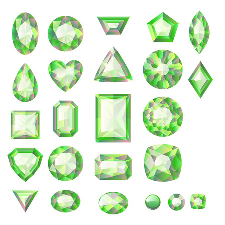 ruby stone: Set of realistic green jewels. Colorful gemstones. Green emeralds isolated on white background.
