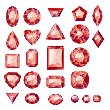 Set of realistic red jewels. Colorful gemstones. Rubies isolated on white background. Vector