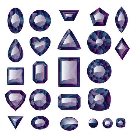 diamonds on black: Set of realistic black jewels. Colorful gemstones. Black diamonds isolated on white background. Illustration
